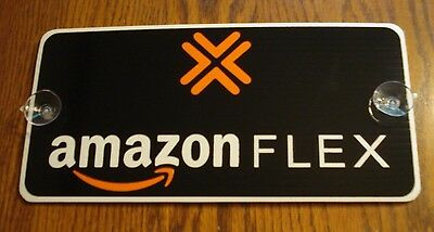 "1 AMAZON FLEX CAR VEHICLE WINDOW SIGN 6"" x 12"" with Suction Cups Black, Orange"