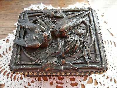 Black Forest hand carved French antique oak trinket box