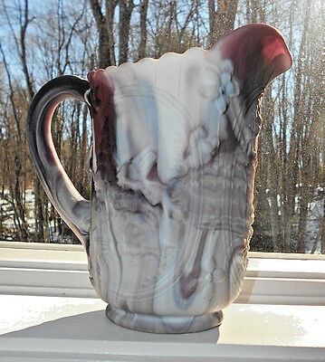 """Imperial Glass Purple Slag Glass Pitcher Windmill With Stickers 6 1/2"""" Tall"""