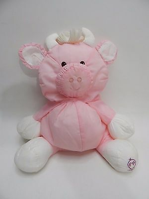 1986 Fisher Price PUFFALUMP COW Plush Bull White Pink Hearts Stuffed Animal Vtg