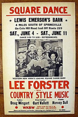 Rare Lee Forster Country Dance Poster -  WKBW - Buffalo NY - Cardboard