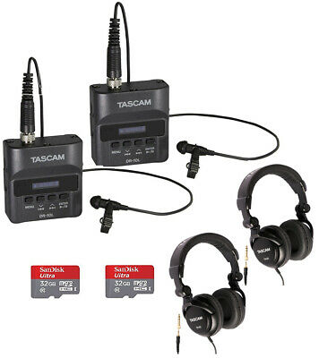 Tascam DR-10L Digital Recorder with Tascam Headphones & 32GB SD Card (2-pack)