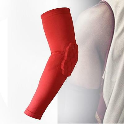 1x Crashproof Honeycomb Pads Basketball Arm Elbow Brace Support Protector Red TS