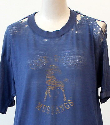vintage 80s PAPER THIN distressed FADED T SHIRT large HORSE