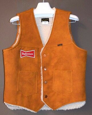 Vintage Wrangler Sherpa Lined Vest Budweiser L Large Suede Orange Brown