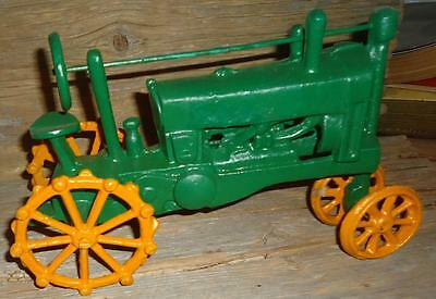 Vintage Cast Iron Toy John Deere Tractor 10 1/2 by 7 inches
