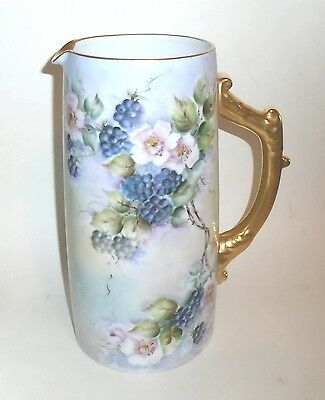 """Beautiful Vintage 10"""" tall Porcelain Pitcher w Artist Signed Hand Painted Decor"""