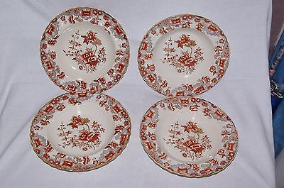 """4 x Antique 10.25"""" Rimmed Soup Bowls Copeland Pattern 2 1109 Indian Tree 1879"""