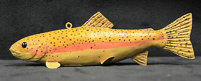 "Rainbow Trout Ice Fishing Wooden Decoy 6.25"" Illinois Artist Greg Owens"