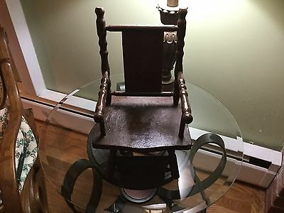 Antique Wooden Doll High Chair with Old Mickey Mouse & Mom On the Back Front
