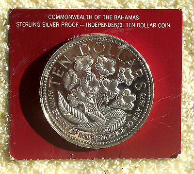 BAHAMAS KM#76a 1976 10 DOLLARS  SILVER PROOF IN ORIGINAL BOX AND CASE