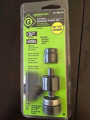 "NEW Greenlee 7211BB-1/2 Slug Buster Knock out Punch Set 1/2"" conduit .89"""