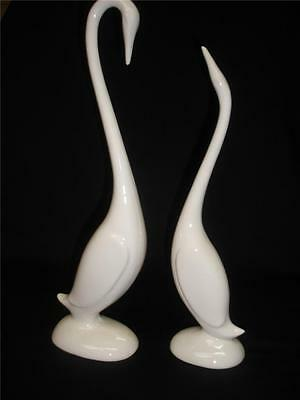 Stunning Pair Of  White Porcelain Decorative Geese
