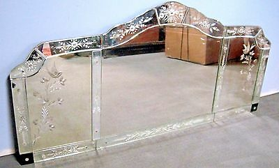 Antique Venetian Glass Arched Wall Mirror with Birds & Floral etchings.Gorgeous!