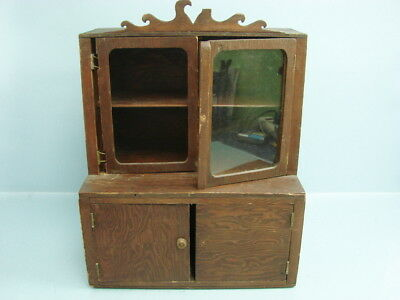 Antique Primitive Miniature Sale's Man Sampler Cabinet China Hutch Display Case