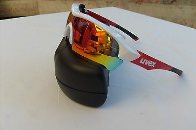 Uvex Sportstyle 104 Cycling / Sports Sunglasses - 3 Lense-white red frame