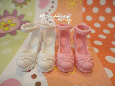 Doll Shoes- Pullip type#3 Plain White/Pink Mary Jane heel shoes 2pairs set#S2035