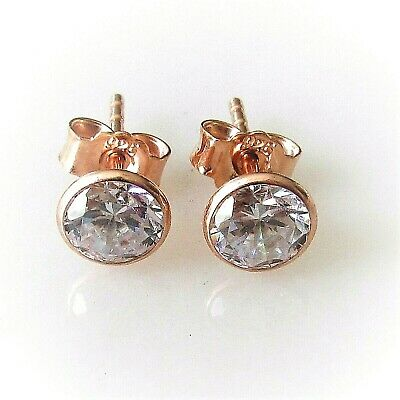 5mm Ohrstecker 925 Sterling Silber Rose Gold Vergoldet Zirkonia Unisex Ohrringe