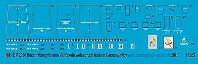 Peddinghaus 2936 1/35 Decal for V2 Rocket in white