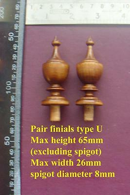 da type U - Pair stained wood SIDE FINIALS FOR AMERICAN WALL CLOCKS