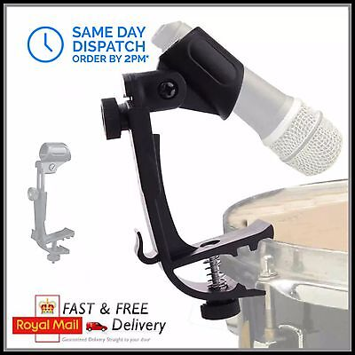 Drum Microphone Mic Rim Clamp Holder Clip Stand Tom Snare Percussion Mount
