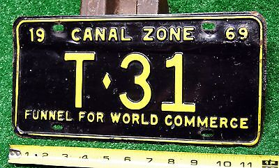 CANAL ZONE - 1969 Canal Maint. TRAILER license plate - low number, tough type