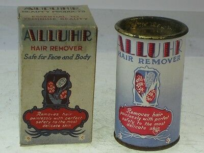 22479 Old Vintage Antique Tin Box Beauty Cream Hair Barber Removal Art Deco Sign