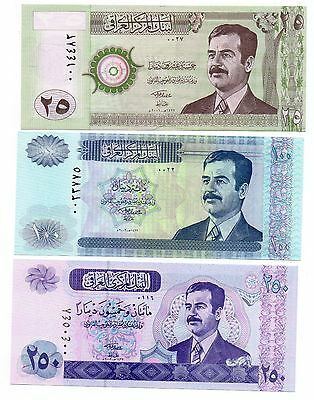 IRAQ 25 / 100 and 250 SADDAM HUSSEIN Dinars - A Set of 3 Crisp UNC Banknotes