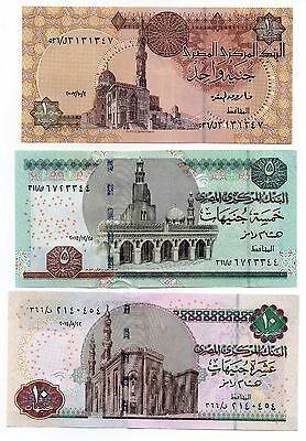 EGYPT 1 / 5 and 10 Pounds - A Set of 3 Crisp UNC Banknotes