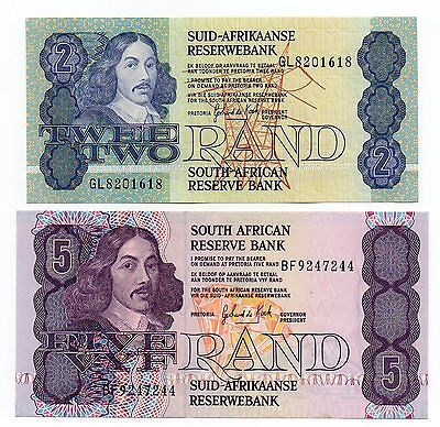 SOUTH AFRICA 2 and 5 Rand - A  Set of 2 Crisp UNC Banknotes