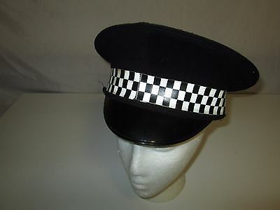 Vintage Metropolitan Police British English UK Visor Hat Black and White Checker