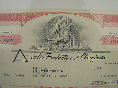 Vtg 1976 Air Products & Chemicals Inc Stock Certificate 100 Shares Franklin Mint