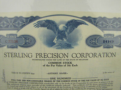 1960 Sterling Precision Corporation Stock Certificate 100 Shares Franklin Mint