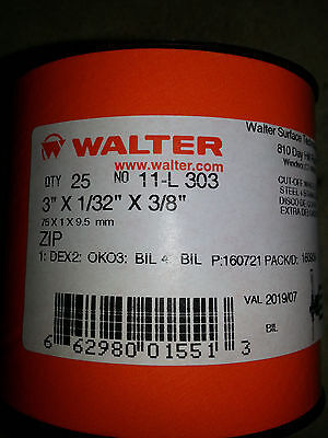 "Walter 11L303 Zip Cut Off Wheel 3"" X 1/32"" X 3/8"" Arbor type 1 -  Qty 25"