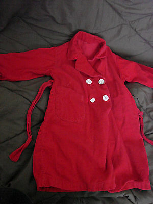 Vintage 50s Girls Childs Bathrobe RED CORDUROY Buttons Robe 3-4 Belt