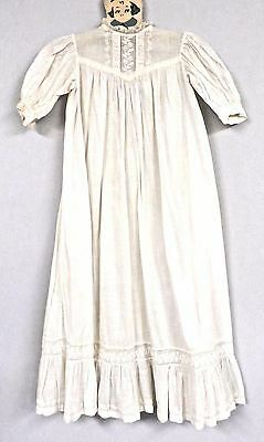 """Antique Christening Gown Baby 30"""" VICTORIAN Embroider BRODERIE ANGLAISE Peg Hang"""
