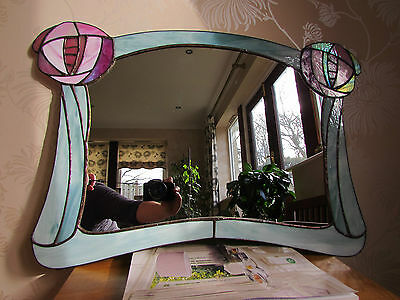 VINTAGE Stained Glass Leaded Mirror GLASGOW Roses Charles Rennie Mackintosh VGC