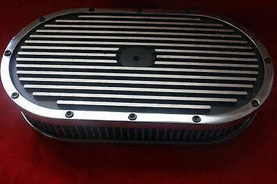 "15"" x 2"" Oval Black Finned Pol Alum Washable Nostalgia Air Cleaner Chevy SBC BBC"