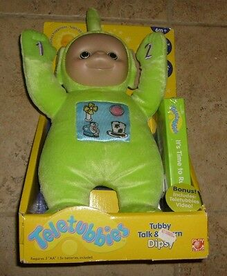 Talking Teletubbies Plush DIPSY - NEW IN BOX - RARE WITH VHS MIB RED TELE TUBBY