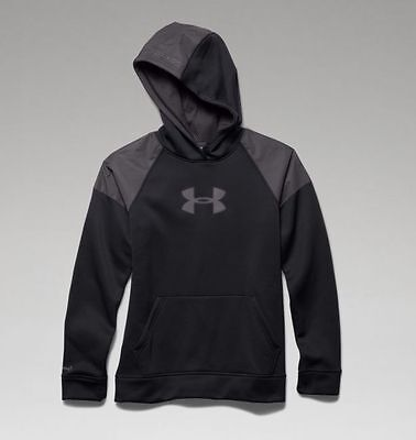 Under Armour Boys Fleece Storm Hoodie 1259690-003 - Black/Reflective - X-Large