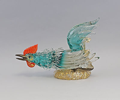 7935002 Large Glass Sculpture Figure Rooster Murano Italy