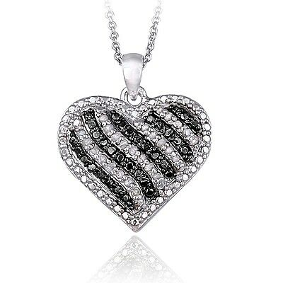 0.50ct TDW Black & White Diamond Striped Heart Necklace