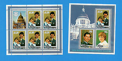 Niue 1981 Wedding.charles And Diana.two Mnh Sheetlets.