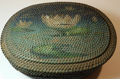 Antique Woven Covered Basket Folk Art Water Lily Scene Old Blue Green Paint
