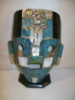 Mayan Tribal Burial Mask Onyx Teal Green Lapis Abalone Lizard Mexico