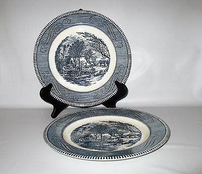 "Royal China Currier Ives 2 Dinner Plates Blue 10 5/8"" Jeannette Old Grist Mill"