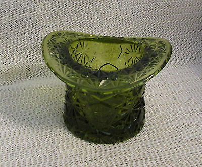 "Vintage Fenton.. 3.5"" Forest Green Daisy & Button Hat Style Small Vase"