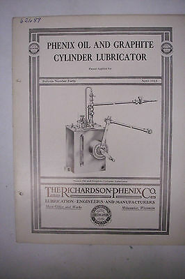 1915 Trade Catalog THE RICHARDSON-PHENIX CO Oil And Graphite Cylinder Lubricator