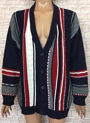 ❤️ VINTAGE Unisex 90's Oversize Festival Coogi Style Textured Cardigan Jumper
