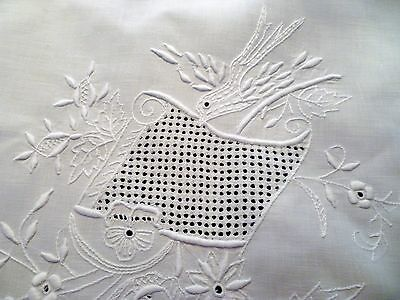 2 Vintage ITALIAN LOVE BIRD WEDDING Lay-Over PILLOWSHAMS w/ WHITEWORK